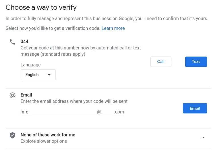 Vaihtoehtoja Google My Business -tilin vahvistamiselle ovat sähköposti, puhelin tai postikortti.
