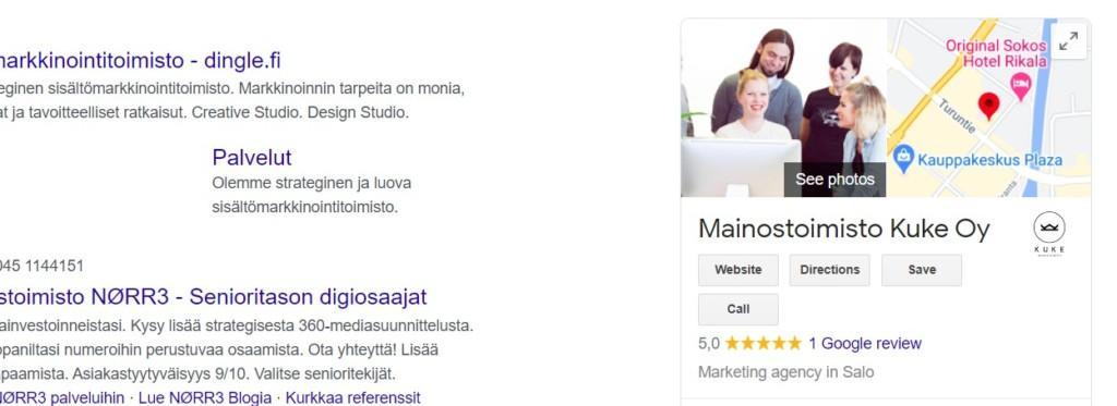 Google-haun näkymä.