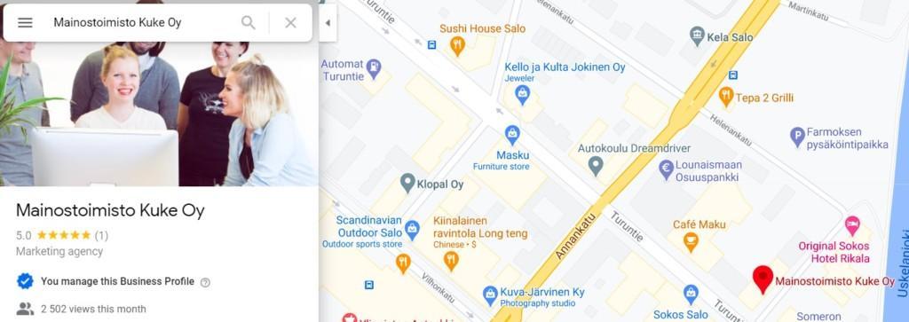 Kuvasisällöt näkyvät Google Mapsissa