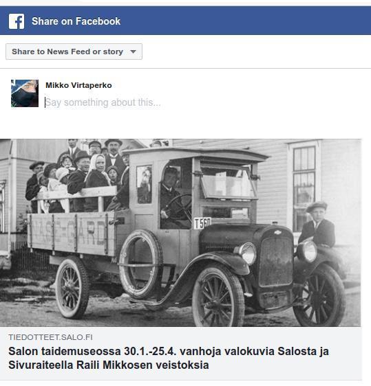 Facebookin jakoikkunassa Salon Taidemuseo
